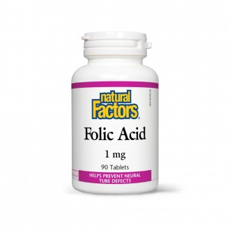 Acid Folic (Vitamina B9) 1 mg (1.000 mcg) 90 tablete